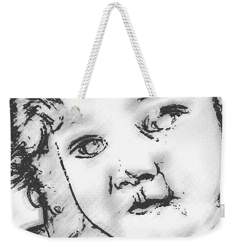 Digital Sketch Weekender Tote Bag featuring the digital art Lost Child by Asenaca Murray