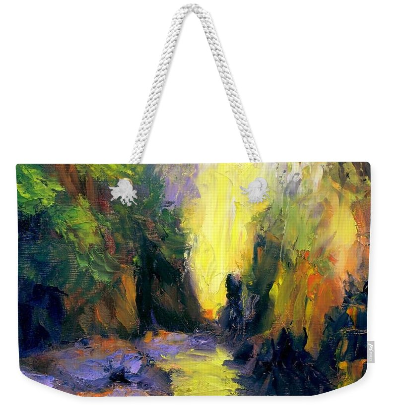 Landscape Weekender Tote Bag featuring the painting Lost Creek by Gail Kirtz