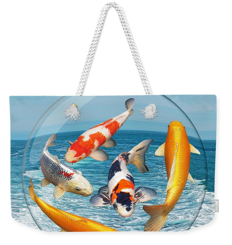 Koi Weekender Tote Bag featuring the photograph Lost In A Daydream - Fish Out Of Water by Gill Billington