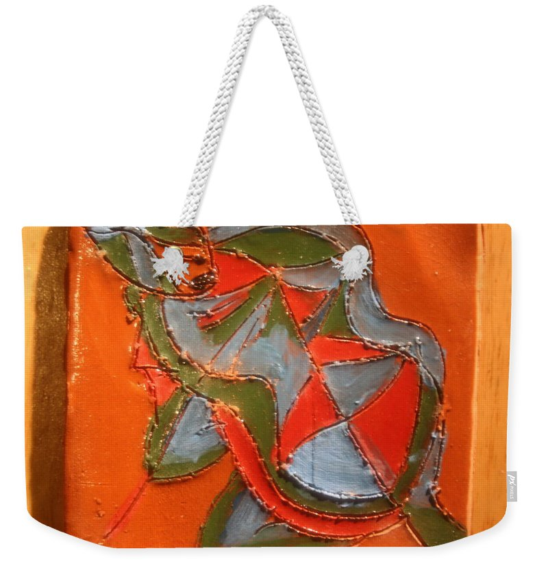 Jesus Weekender Tote Bag featuring the ceramic art Lost In Puzzle - Tile by Gloria Ssali