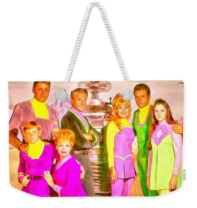 Lost In Space Weekender Tote Bag featuring the painting Lost In Space Team - Pa by Leonardo Digenio