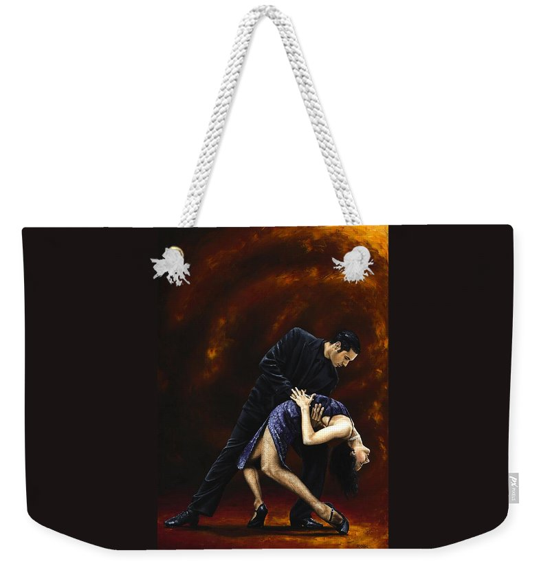 Tango Weekender Tote Bag featuring the painting Lost in Tango by Richard Young