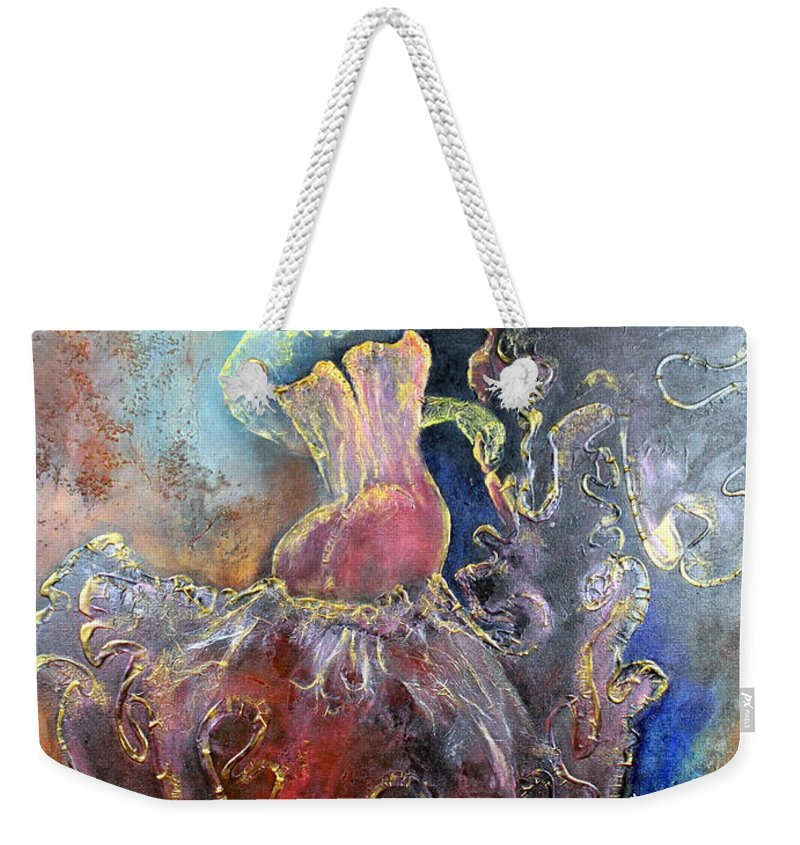 Texture Weekender Tote Bag featuring the painting Lost In The Motion by Farzali Babekhan