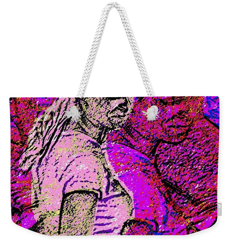 Woman Weekender Tote Bag featuring the painting Lost In Thoughts Of Self Reflection by Cliff Wilson