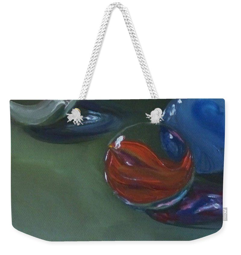 Marble Weekender Tote Bag featuring the painting Lost Marbles No. 2 by Kristine Kainer