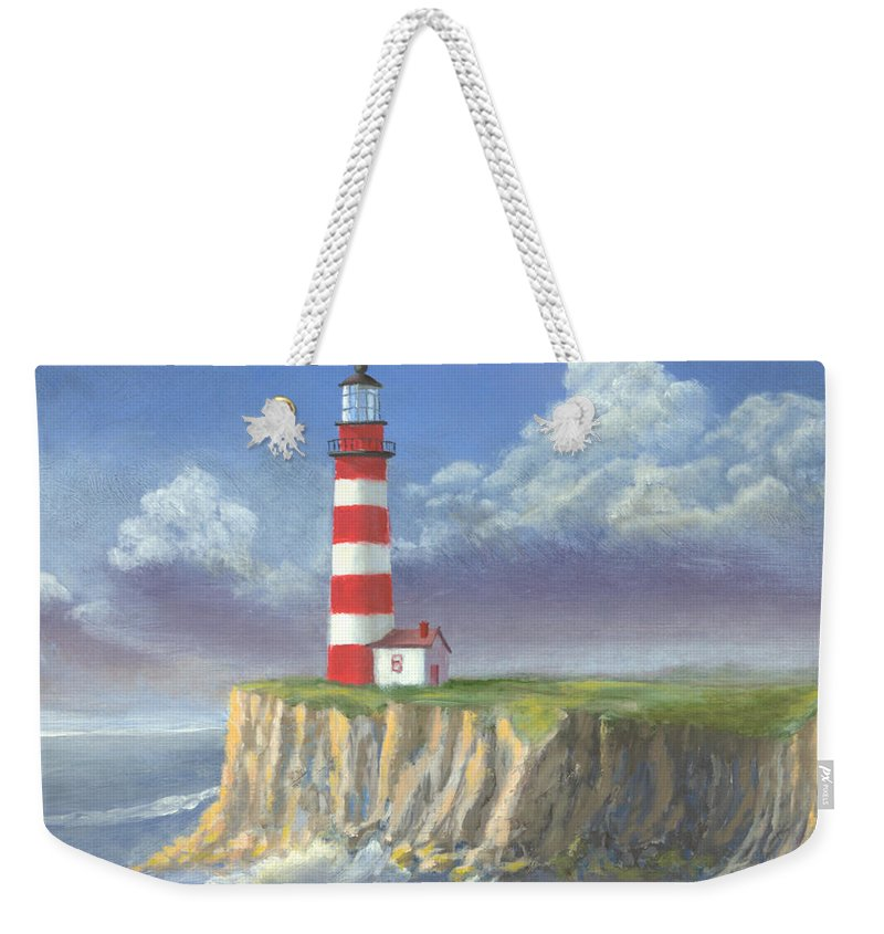 Light Weekender Tote Bag featuring the painting Lost Point Light by Jerry McElroy