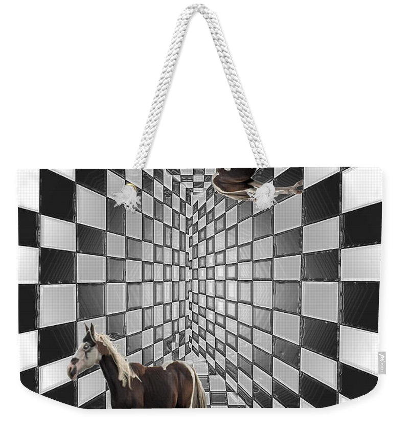 Horse Horses Lost Soul Maze Animal Black And White Paint Digital Artist Regina Sk Weekender Tote Bag featuring the digital art Lost Souls by Andrea Lawrence