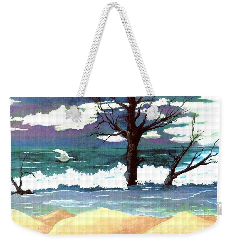 Original Watercolor Painting Weekender Tote Bag featuring the painting Lost Swan by Patricia Griffin Brett