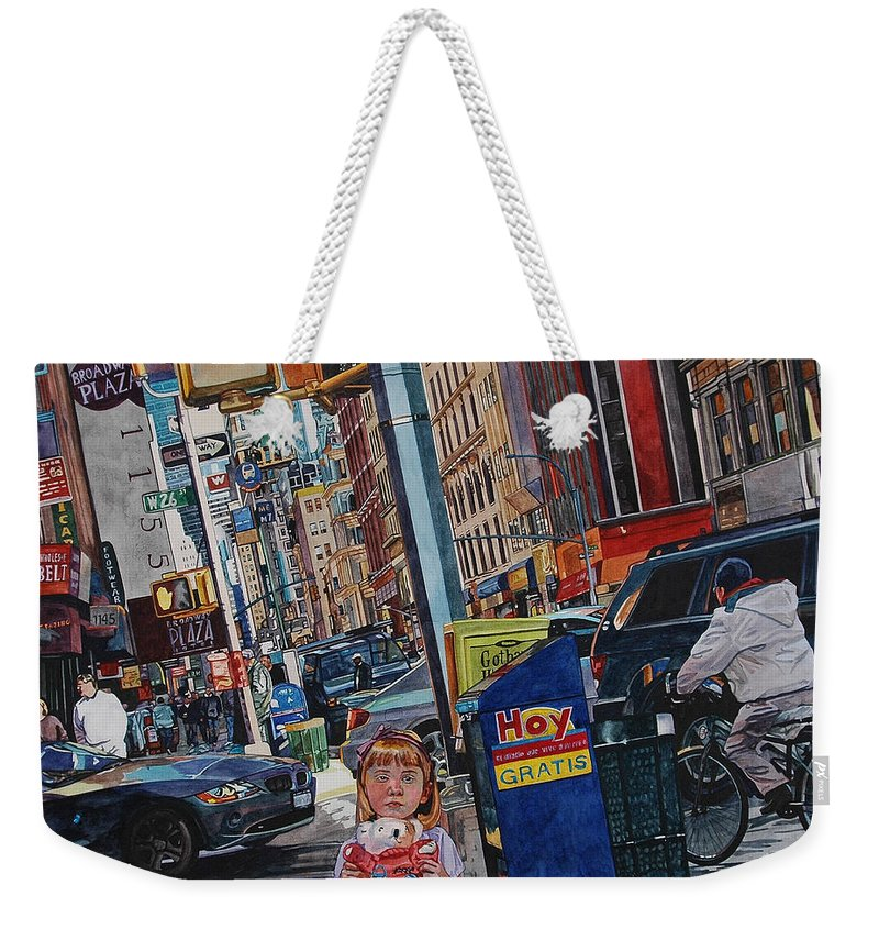 City Weekender Tote Bag featuring the painting Lost by Valerie Patterson