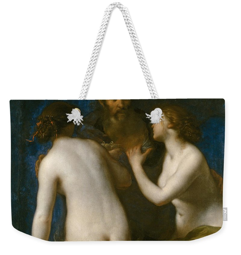 Francesco Furini Weekender Tote Bag featuring the painting Lot And His Daughters by Francesco Furini