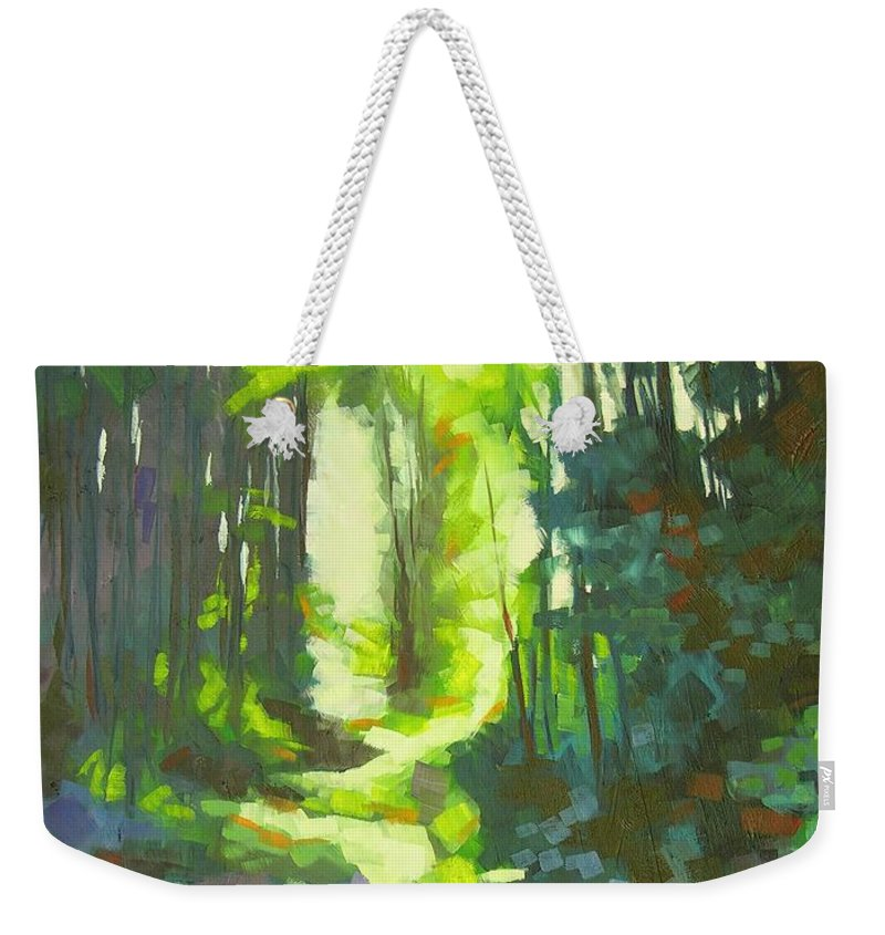 Landscape Weekender Tote Bag featuring the painting Lothlorian Wood by Mary McInnis