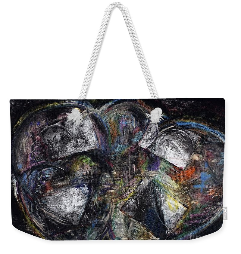 Abstract Heart Weekender Tote Bag featuring the painting Lots Of Heart by Frances Marino