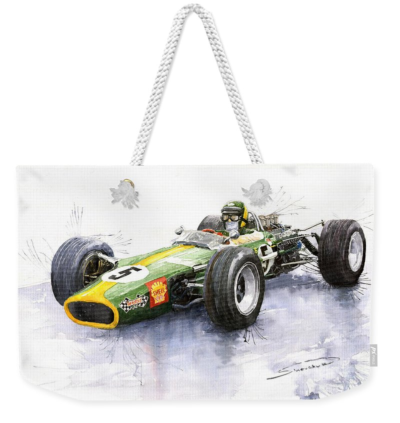 Watercolour Weekender Tote Bag featuring the painting Lotus 49 Ford F1 Jim Clark by Yuriy Shevchuk