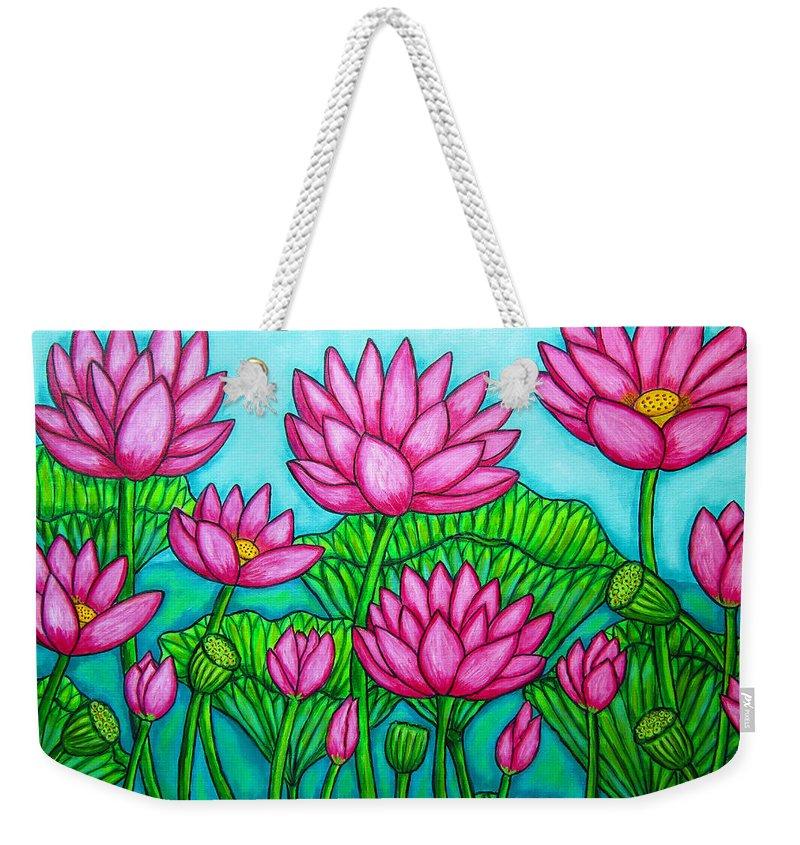 Lotus Weekender Tote Bag featuring the painting Lotus Bliss II by Lisa Lorenz