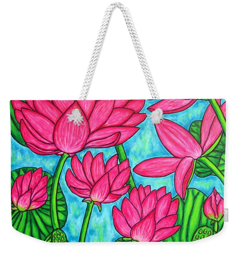 Weekender Tote Bag featuring the painting Lotus Bliss by Lisa Lorenz