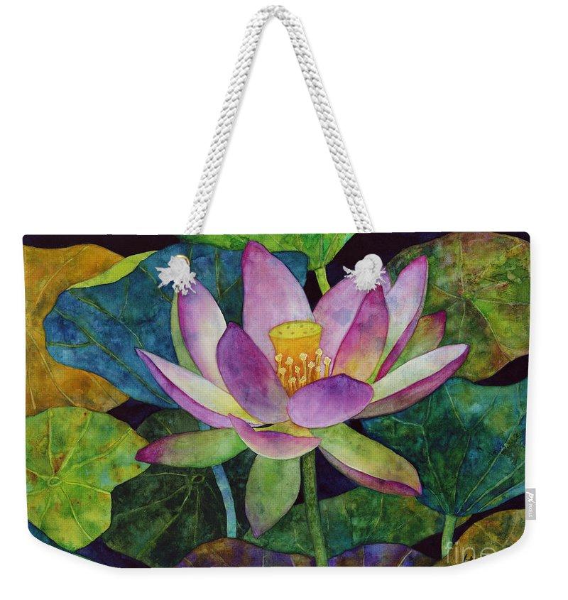 Watercolor Weekender Tote Bag featuring the painting Lotus Bloom by Hailey E Herrera