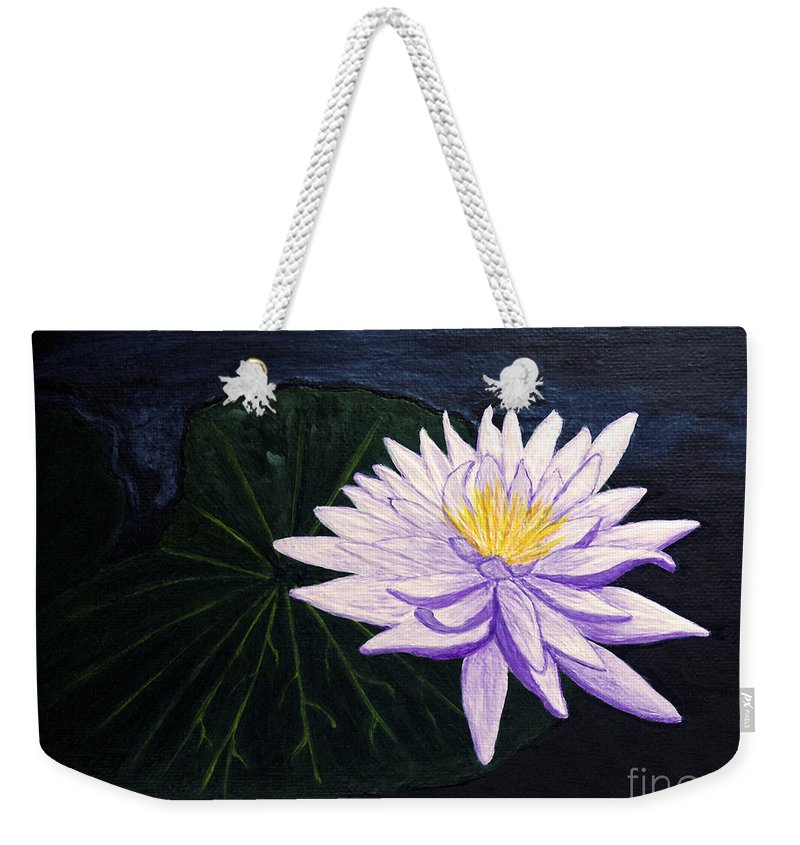 Original Painting Weekender Tote Bag featuring the painting Lotus Blossom At Night by Patricia Griffin Brett
