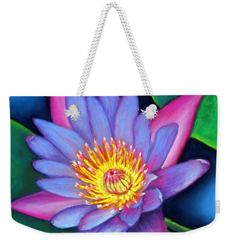 Flower Weekender Tote Bag featuring the painting Lotus Divine by Minaz Jantz