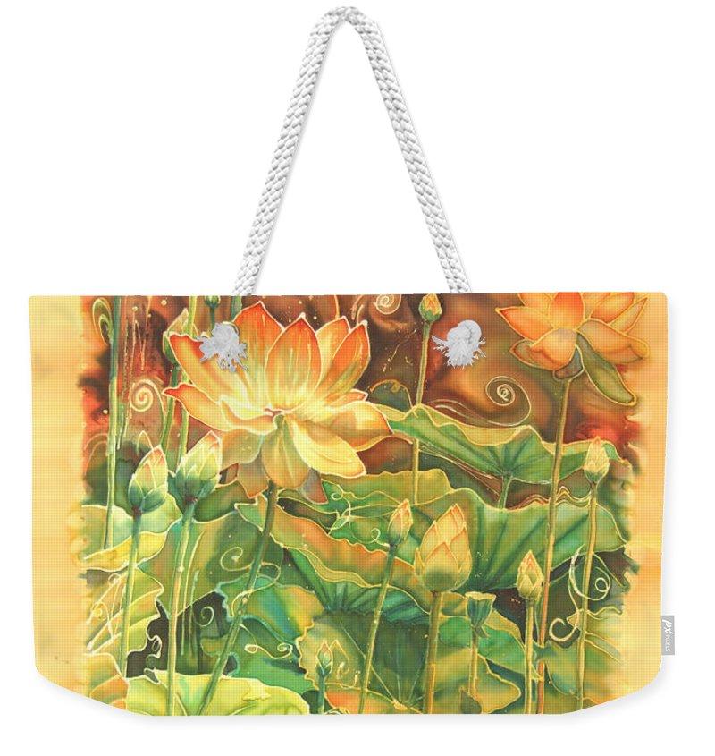 Flower Weekender Tote Bag featuring the painting Lotus Field by Deborah Younglao