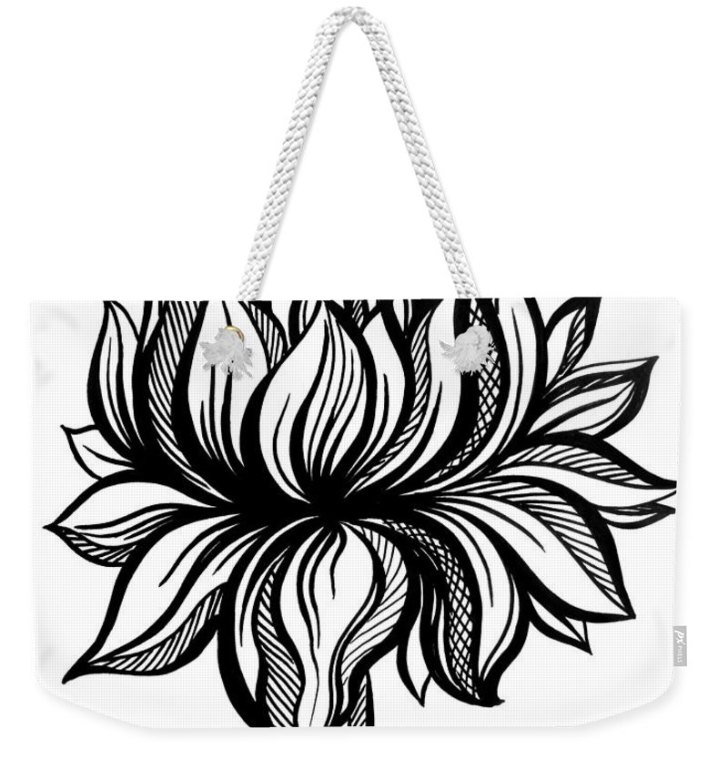 Lotus Flower. Black-white Drawing Weekender Tote Bag for Sale by ...