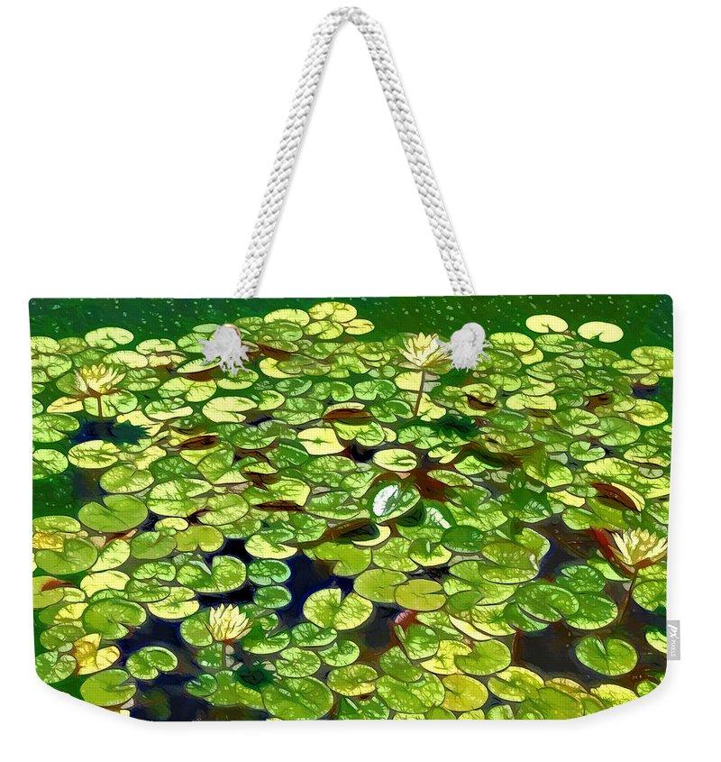 Lotus Flower Born In Water Weekender Tote Bag featuring the painting Lotus Flower Born In Water by Jeelan Clark