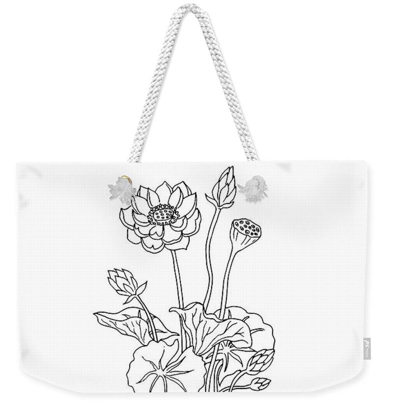 Lotus Flower Botanical Drawing Black And White Weekender Tote Bag