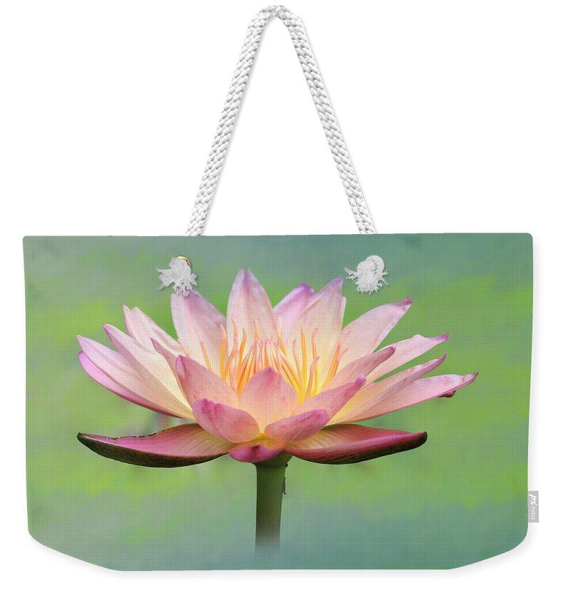 Lotus Weekender Tote Bag featuring the photograph Lotus Flower by Lori Deiter
