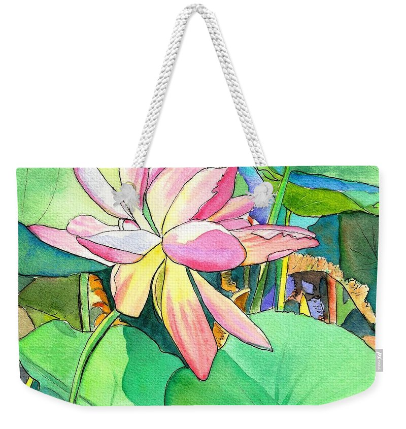 Kauai Weekender Tote Bag featuring the painting Lotus Flower by Marionette Taboniar