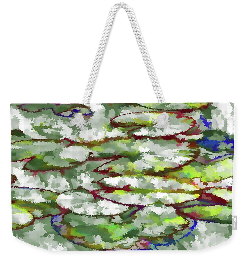 Lotus Leaves Weekender Tote Bag featuring the painting Lotus Leaves by Jeelan Clark