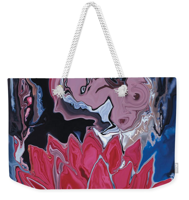 Angel Weekender Tote Bag featuring the digital art Lotus Love by Rabi Khan