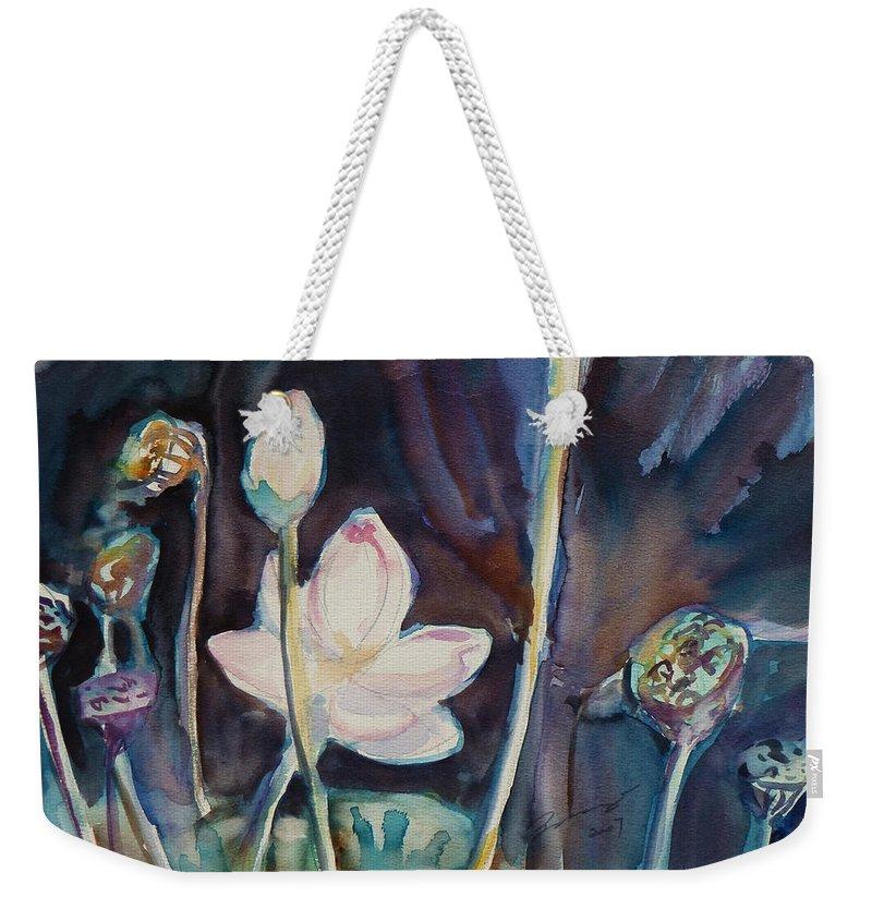 Watercolor Weekender Tote Bag featuring the painting Lotus Study II by Xueling Zou