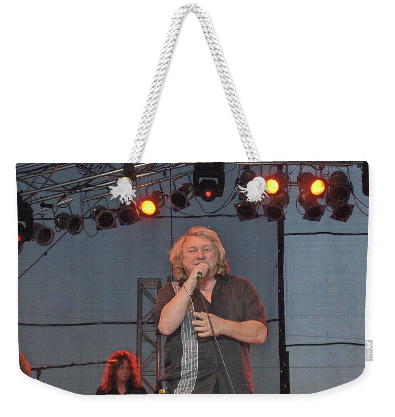 Lou Gramm Band Music Singer Rock And Roll Concert Lead Vocals Weekender Tote Bag featuring the photograph Lou Gramm by Andrea Lawrence