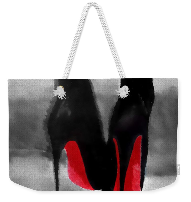 Fashion Weekender Tote Bag featuring the mixed media Louboutin At Midnight Black And White by My Inspiration