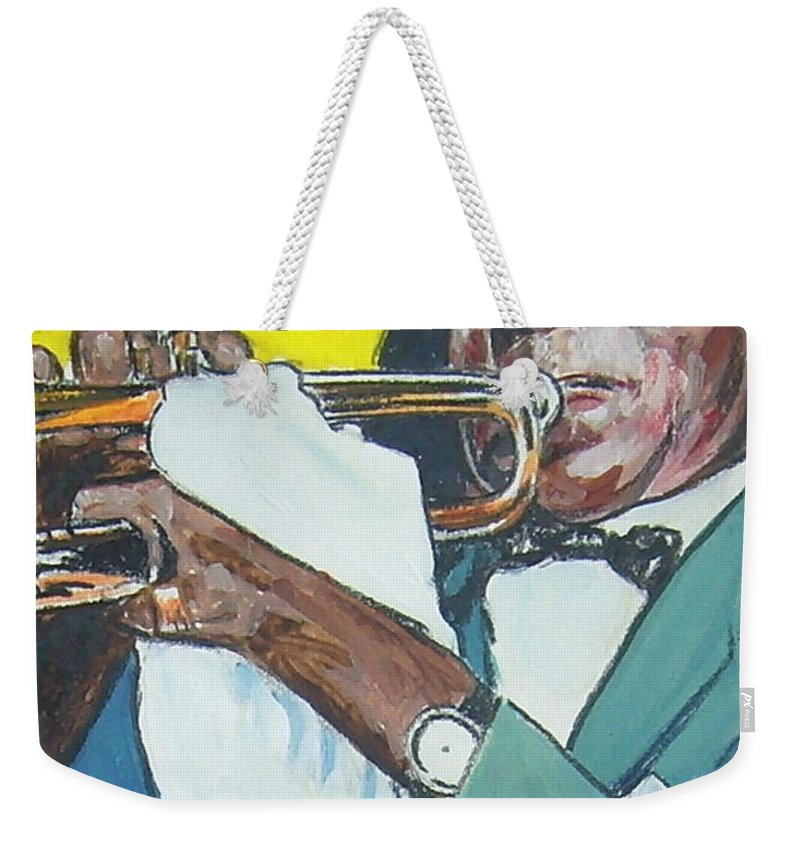 Louis Armstrong Weekender Tote Bag featuring the painting Louis Armstrong by Bryan Bustard