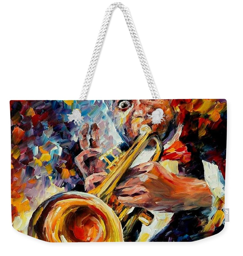 Music Weekender Tote Bag featuring the painting Louis Armstrong by Leonid Afremov