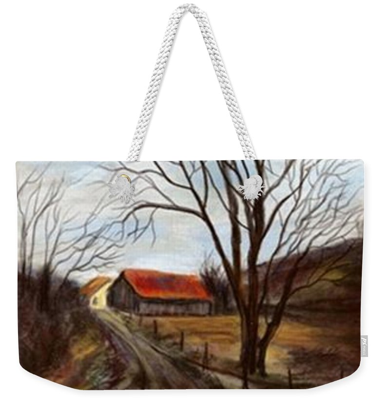 Barn Weekender Tote Bag featuring the painting Louisa Kentucky Barn by Gail Kirtz