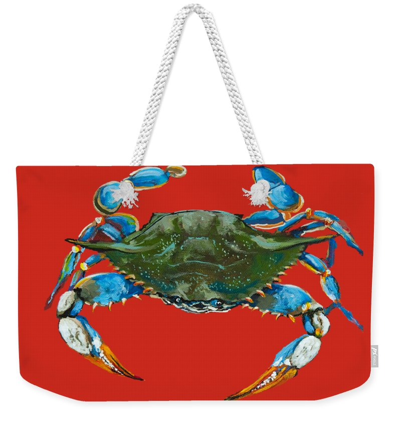 New Orleans Art Weekender Tote Bag featuring the painting Louisiana Blue On Red by Dianne Parks