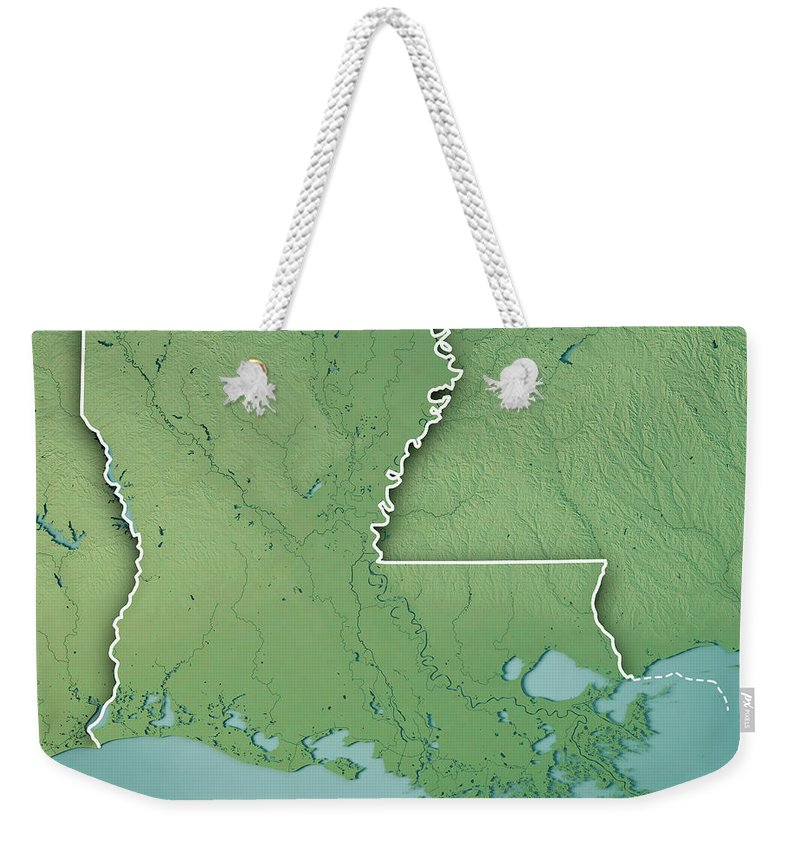 Louisiana Weekender Tote Bag featuring the digital art Louisiana State Usa 3d Render Topographic Map Border by Frank Ramspott