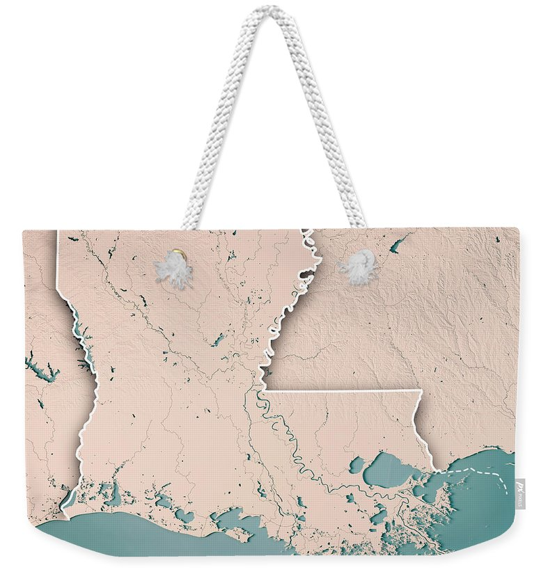 Louisiana Weekender Tote Bag featuring the digital art Louisiana State Usa 3d Render Topographic Map Neutral Border by Frank Ramspott