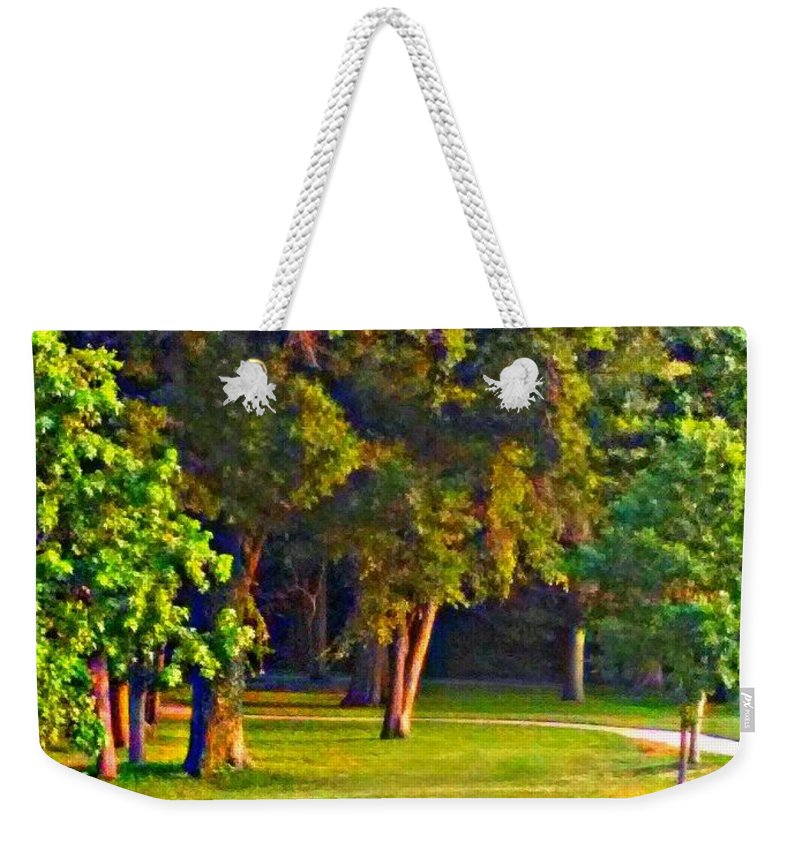 Lounging Weekender Tote Bag featuring the painting Lounging On The Green by PrettTea Art Gallery By Teaya Simms