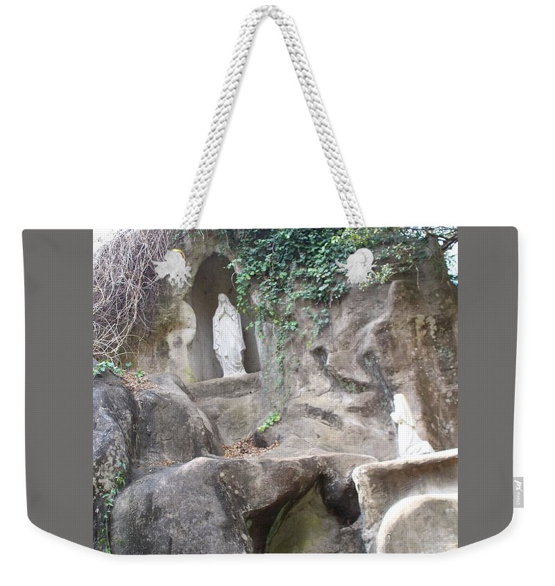 Lourdes Grotto At Grand Coteau Weekender Tote Bag featuring the photograph Lourdes' Grotto At Grand Coteau by Seaux-N-Seau Soileau
