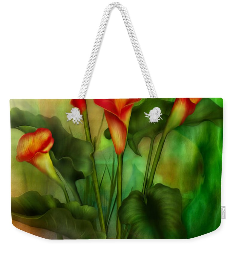 Lovebird Weekender Tote Bag featuring the mixed media Love Among The Lilies by Carol Cavalaris