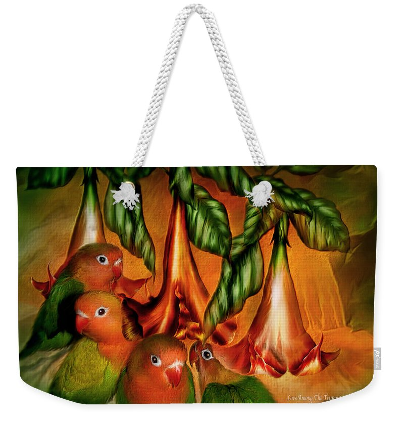 Lovebird Weekender Tote Bag featuring the mixed media Love Among The Trumpets by Carol Cavalaris