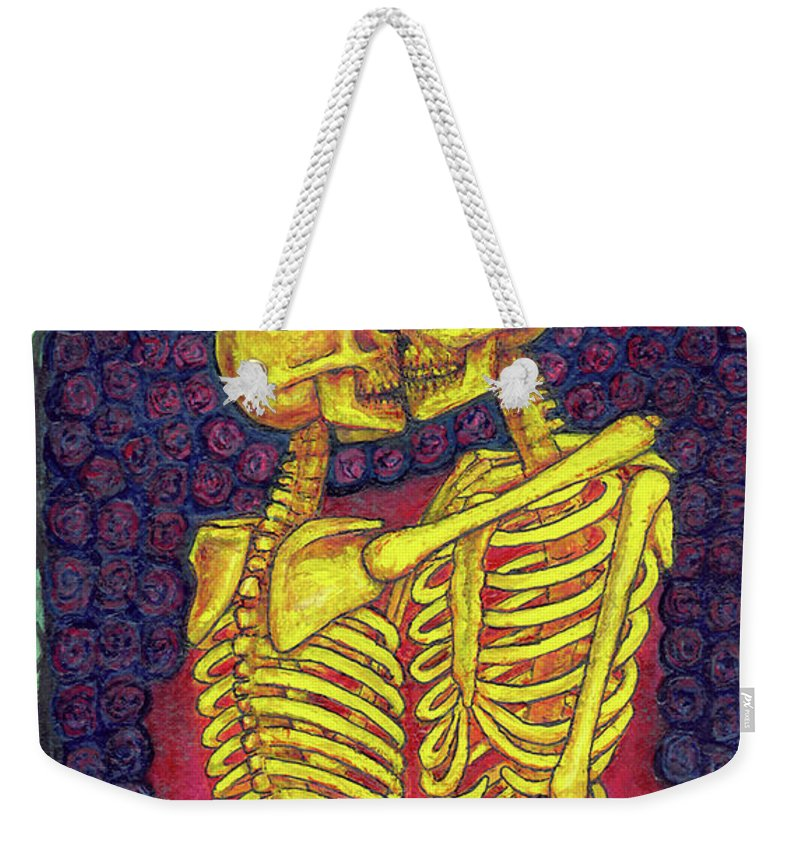 Vape93 Weekender Tote Bag featuring the mixed media Love And Death by Leigh Meinhart