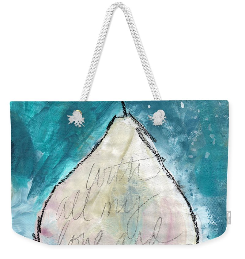 Love Weekender Tote Bag featuring the painting Love And Hope Pear- Art By Linda Woods by Linda Woods
