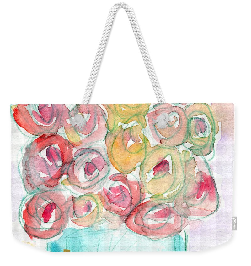 Roses Weekender Tote Bag featuring the mixed media Love And Roses- Art By Linda Woods by Linda Woods