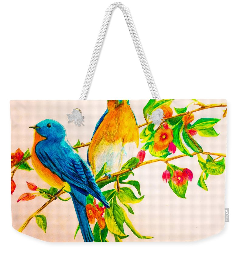 Weekender Tote Bag featuring the painting Love Birds by B Janas
