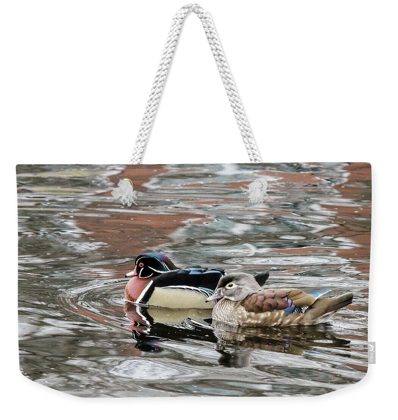 Wildlife Weekender Tote Bag featuring the photograph Love Birds by Barbara Blanchard