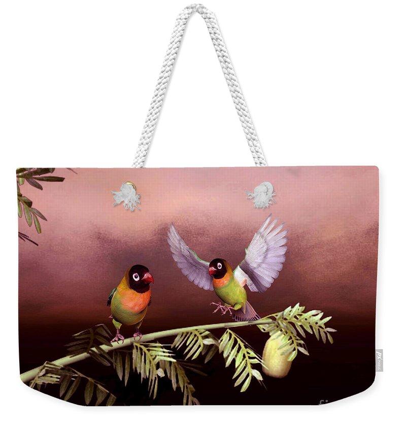 Animals Weekender Tote Bag featuring the digital art Love Birds By John Junek by John Junek