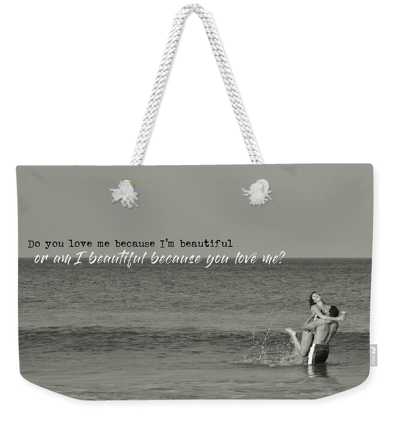 Love Weekender Tote Bag featuring the photograph Love Birds Quote by JAMART Photography